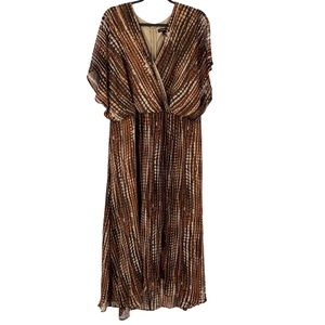 New Lane Bryant Dress Ruffle Brown Patterned